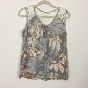Tommy Bahama Faded Leaf Patterned Tank Top